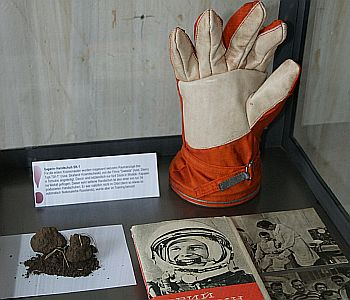 Gagarin's training glove and earth from exactly the spot of his landing at Smelovka