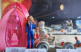 Barbie's spaceship is of course pink...
